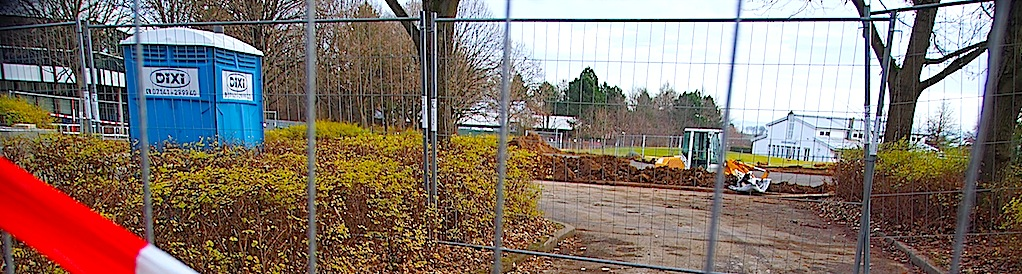 Container-Baustelle beim GSG Stuttgart Sillenbuch