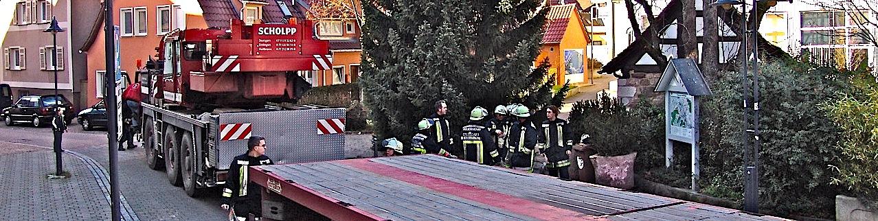 Weihnachtsbaumaufstellung Stuttgart Hedelfingen