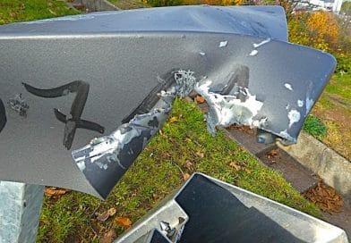 Vandalismus am Staibhöhenweg – Mülleimer mutwillig zerstört