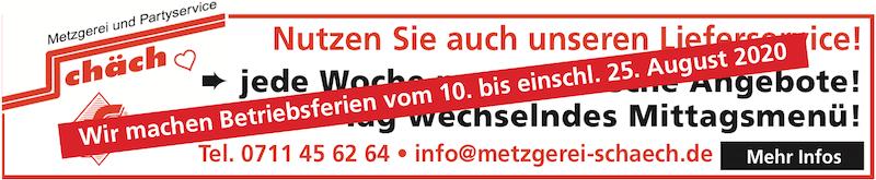 Betriebsferienankündigung der Metzgerei Schäch