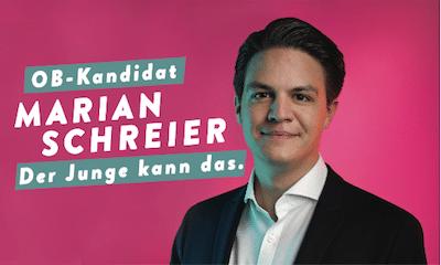 Anzeige von Marian Schreiber zur OB-Wahl