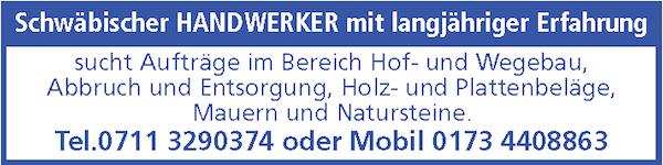Anzeige Eisenhut schwäbischer Handwerker