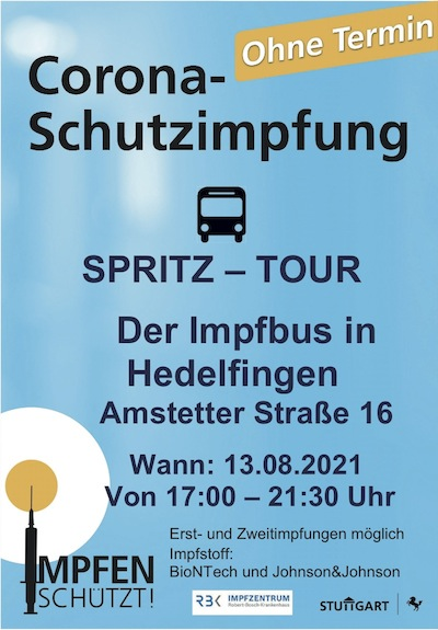 Impfbus in Hedelfingen am 13.8.