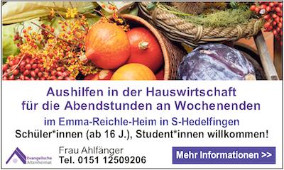 Stellenangebot Aushilfen in der Hauswirtschaft Emma-Reichle-Heim